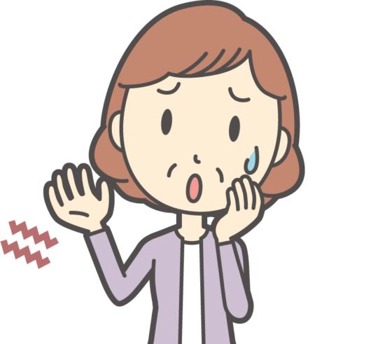 小指側が痺れている女性のイラスト