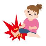 足首を痛がる女性のイラスト