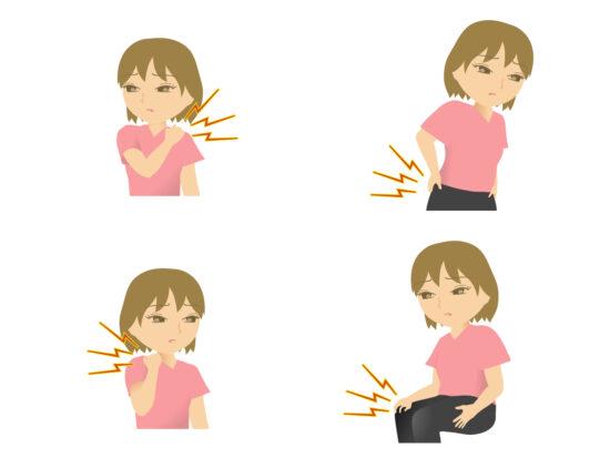 身体を痛がる女性のイラスト