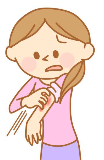 腕がかぶれた女性のイラスト